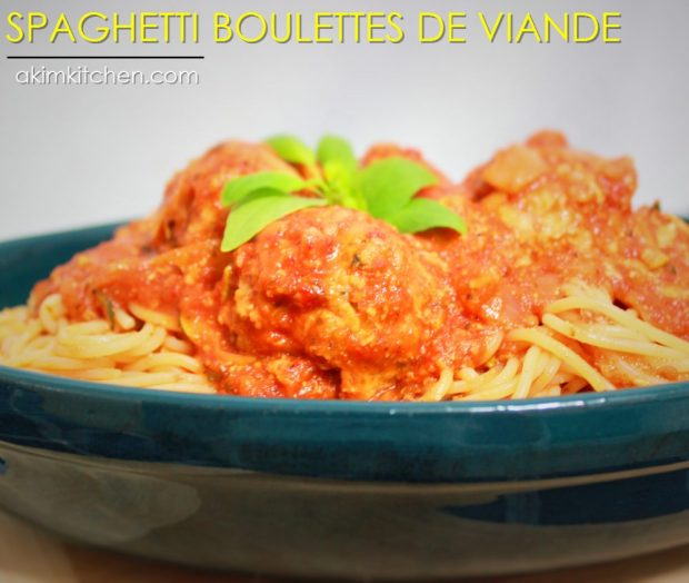 spaghetti boulettes viande tomates